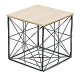 Mesa auxiliar con bandeja extraíble y cesta de almacenamiento, 38 x 38 cm, cesta de metal de madera, tapa de salón, plegable