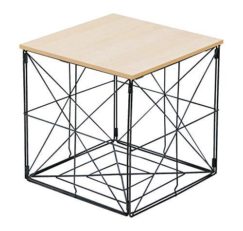 Beistelltisch mit Abnehmbarer Platte und Aufbewahrungskorb - 38x38 cm - Metall Korb Holz Deckel Wohnzimmer Couch faltbar