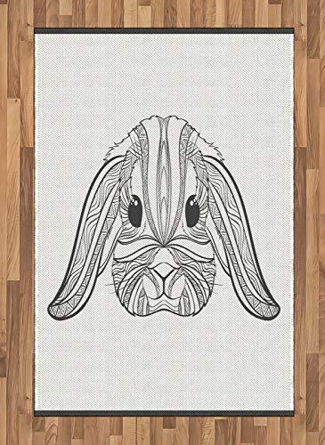 ABAKUHAUS Hase Teppich, Boho Art Hare, Deko-Teppich Digitaldruck, Färben mit langfristigen Halt, 120 x 180 cm, Charcoal Grau und Weiß