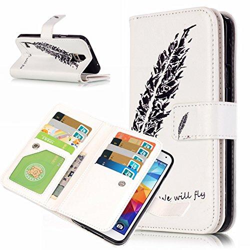 HUDDU Compatible for Samsung Galaxy S5 Hülle Wallet Case Neun Kartenfächer Schutzhülle Doppelt Cover Tasche Handyhülle Stand Ledertasche Etui Lederhülle Samsung Galaxy S5 -#5