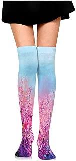 Men's Socks Flower,Sakura Blossom Floral Beauty with Sky Japanese Inspired Cherry Spring Theme,Puple Pale Blue,socks for men