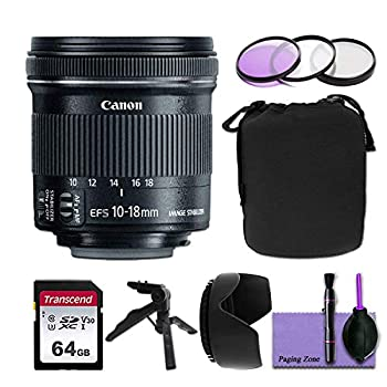Canon EF-S 10-18mm f/4.5-5.6 is STM Wide Angle Lens w/Deluxe Photo Bundle - Includes   Commander Optics 67mm Filter Kit 64GB Transcend Memory Card Neoprene Lens Pouch and More  Renewed