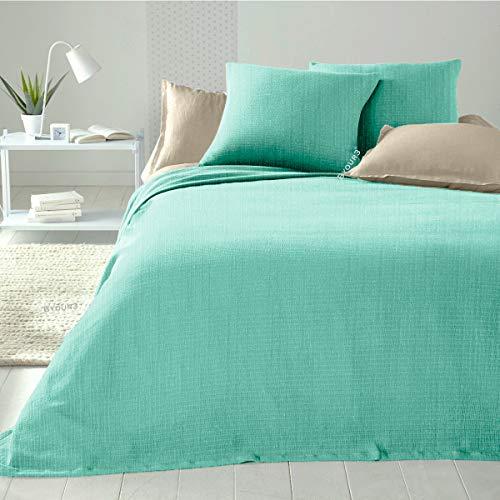 Colcha matrimonial de algodón - Manta ligera cama individual 1 plaza Primaveral verano tela decoración cubre todo gran foulard (aguamarina 1plaza y media)