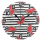 Reloj de pared Sandía roja Rayas blancas negras Reloj de acrílico redondo Números grandes negros Reloj silencioso sin tictac Pintura decorativa Reloj con pilas para la biblioteca del hotel de la escue