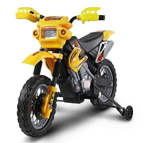 Vetrineinrete® Moto elettrica per bambini con rotelle mini motocicletta da cross batteria 6v giallo P18