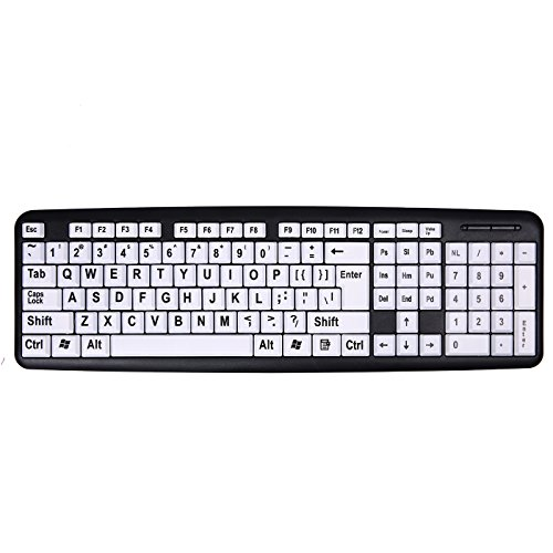 HDE Large Print Keyboard Wired Large Letter Key Keyboard USB Keyboards for Visually Impaired