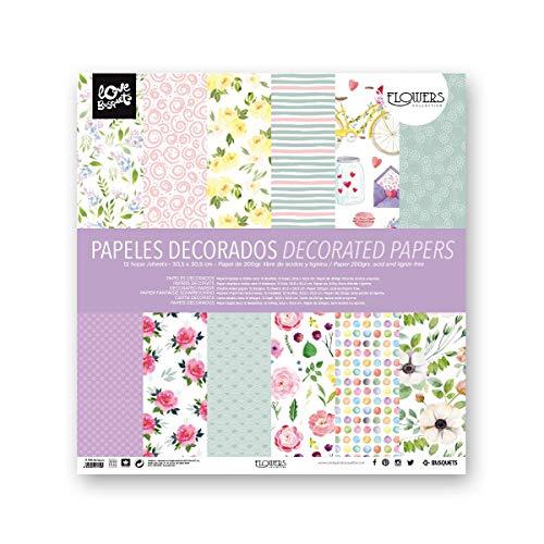 Busquets - Papeles Decorados Scrapbooking Flowers 30,5x30,5