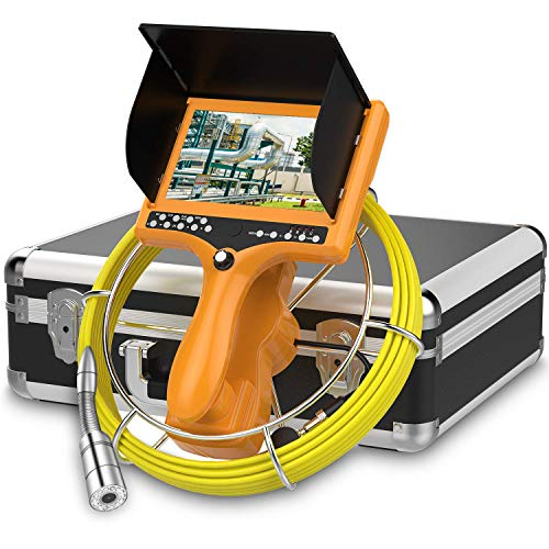 """Sewer Camera,HBUDS Pipe Inspection Camera,Pipeline Drain Industrial Endoscope 30M/100ft Snake Video System With DVR Recorder Distance Counter Waterproof IP68 9""""TFT Monitor 1000TVL Sony CCD Pipe Camera"""