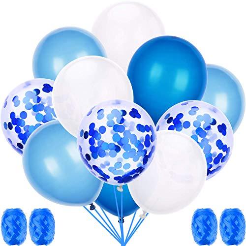 60 Stück Luftballons Blau, Luftballon 12 Zoll für schöne Feiertage und Feste, Baby Shower, die Hochzeit, die zum Geburtstag, Perlglanz, Verdicken 3.2G, 4 Farbe