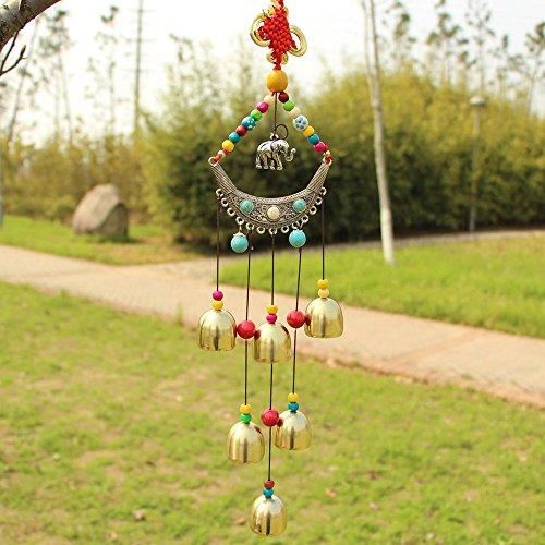 Sunfire Carillon chinois kont à suspendre dans le jardin avec éléphant décoratif 58 cm