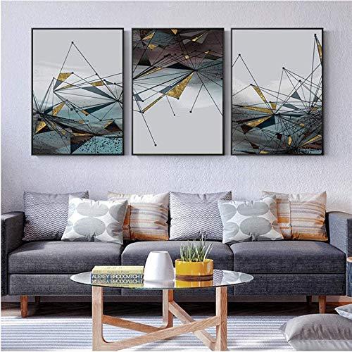 LYFCV Moderne Abstrakte Geometrische Bild Wandkunst Leinwand Malerei Goldene Poster und Drucke Wandbilder Dekor für Wohnzimmer 50x70 cm Kein Rahmen
