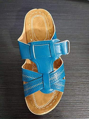 Las zapatillas de algodn unisex para otoo e invi Chanclas ergonmicas de las mujeres, desgaste zapatillas de punta abierta, pendiente antideslizante con sandalias-Royal Blue_37, resbaln en zapatill