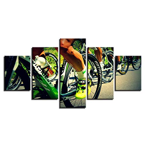 SLFWCLH 5 Pictures Modular Canvas Art Posters Prints Painting 5 Panels Ride A Bike Wall Pictures for Living Room Home Decoration Fashion Art Halloween Modular Mural No Frame