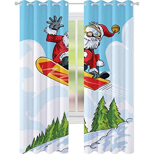 Cortinas opacas para dormitorio, diseño de Papá Noel haciendo un salto en snowboard, montañas, pinos, 108 x 84 pulgadas, para sala de estar, multicolor