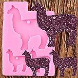 YAJIAO Molde De Llaveros De Silicona De Llama Animal Brillante, Llavero De Camello, Colgante De Arcilla, Fabricación De Joyas DIY, Moldes De Resina Epoxi