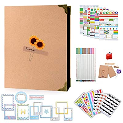 """Scrapbook Photo Album, Halema DIY Photo Scrap Book with Scrapbooking Albums Accessories for Birthday, Family, Anniversary, Wedding, Graduation, Baby Growth, Travelling, Christmas Gifts (8.5 x 11"""")"""