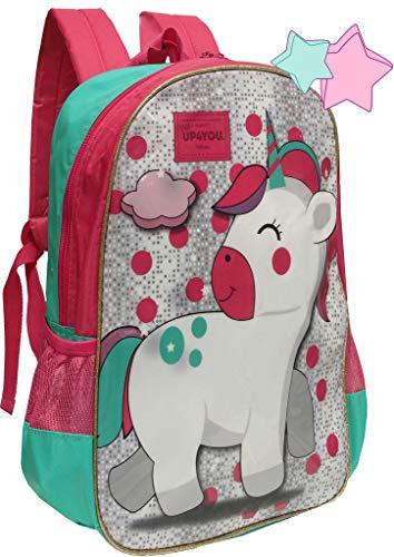Mochila Escolar Infantil Unicórnio Menina Rosa Verde Costas Grande Impermeável Lançamento UP4YOU Luxcel Modelo Novo