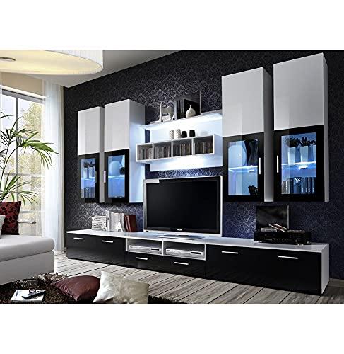 ASM Ensemble Meuble TV Mural - Lyra - 300 Cm X 190 Cm X 45 Cm - Blanc Et Noir