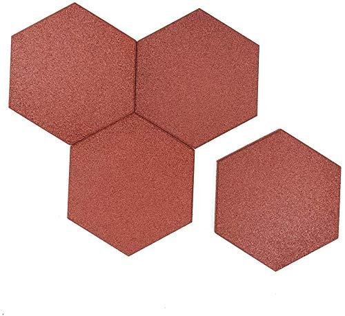 "RevTime 20 pcs Hexagon Rubber Pavers 10-1/2"", 3/4"" Thick for Garden pavers, Deck Floor Tile, Patio Floor mats, Lawn Stepping Stones, Terra Cotta"