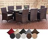 CLP Polyrattan Sitzgruppe Avignon Big | Garten-Set: 1 Tisch + 8 Gartenstühle inkl. Sitzauflagen erhältlich Rattanfarbe: Braun-meliert, Bezugfarbe: Cremeweiß