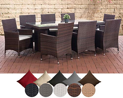 CLP Polyrattan-Sitzgruppe Avignon Big   Garten-Set mit 8 Sitzplätzen   Komplett-Set bestehend aus: 1x Tisch und 8 Gartenstühlen und Sitzkissen, Farbe:braun-meliert, Polsterfarbe:Cremeweiß