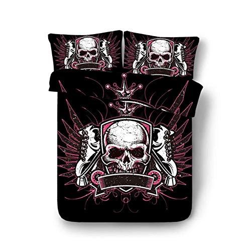 Conjuntos de funda nórdica Funda nórdica 3D Funda de edredón de calavera Cuidado de la piel Ropa de cama de algodón Four Seasons Universal Soft Lavable a máquina, Skull Crown ( Size : 1.35 bed
