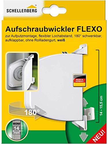 Schellenberg 50153 Aufschraubwickler Flexo aufklappbar, 180° schwenkbar, Gurtbandsystem MINI, Gurtbreite 14-15 mm, Lochabstand 14-15,5 cm (verstellbar)