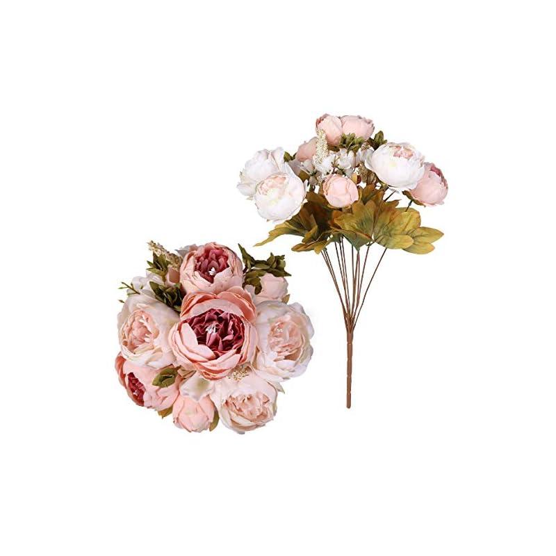 silk flower arrangements floweroyal 2pcs artificial peony vintage silk flowers bridal bouquets home wedding party office garden decoration (autumn light pink)
