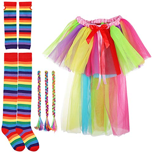 ABOOFAN Juego de tut multicolor con tut y falda arcoris, juego de calcetines largos multicolor con rayas de arco iris para disfraz de carnaval o fiesta