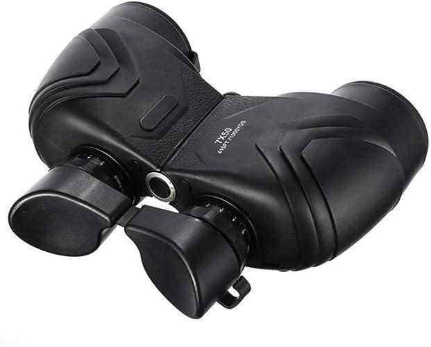 Cwang Jumelles 7x50 hd avec compas nautique grand oculaire nautique rempli de nitrogène - vision nocturne étanche avec miroir de vision nocturne avec télescope de boussole adapté au voyage en plein a