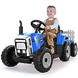 METAKOO Tracteur Électrique 12V 7Ah 2+1 Vitesse, Tracteur Jouet avec Remorque 7 Phares à LED, Bouton d'avertisseur/Lecteur MP3/ Bluetooth/Port USB/Télécommande pour Enfants de 3 à 8 Ans (Bleu)