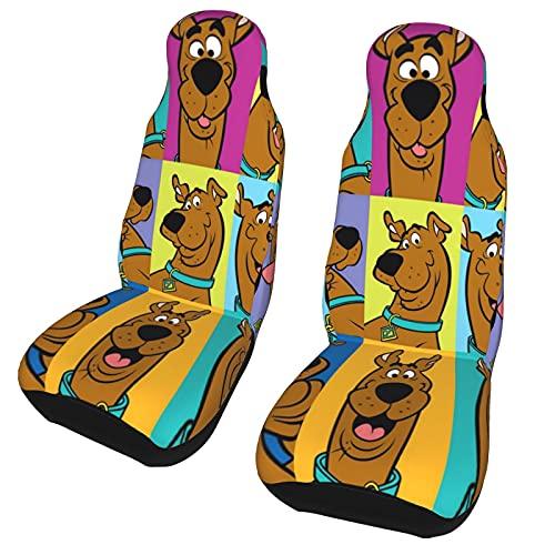ADDX Scooby-Doo - Fundas de asiento de coche, fundas protectoras para asiento de coche, aptas para la mayoría de coches, camiones, SUV o furgonetas. 2 unidades