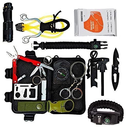 Neu 2021 Survival Kit ZS-12 Militärisches Überlebenskit 15-in-1 Erste-Hilfe-Kit Mit Schleuder und Uhr Notfall Survival Gear Multifunktionales Zubehör für Reisen Wandern Camping Outdoor Sport