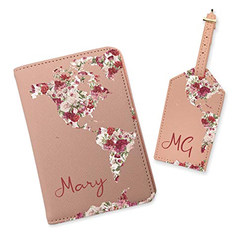 Monogrammed Travel Set Leather Passport Cover Flower World Passport Holder Custom Cute Passport Case Luggage Tag Name Travel Wallet (Pink, Set (Tag+Holder))