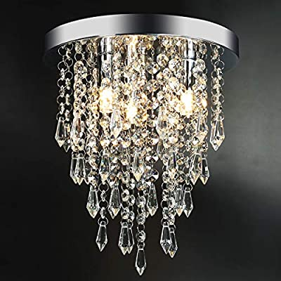 "3 Lights Mini Crystal Flushmount Chandelier Fixture?Hong-in Crystal Ceiling Lamp, H10.4"" X W9.84"", Elegant Modern Flush Mount Ceiling Light for Bedroom, Hallway, Bar, Living Room, Dining Room, Chrome"