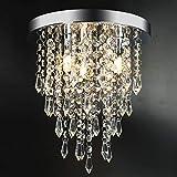3 Lights Mini Crystal Flushmount Chandelier Fixture, Crystal Ceiling Lamp, H10.4' X W9.8', Elegant Modern Flush Mount Ceiling Light for Bedroom, Hallway, Bar, Living Room, Dining Room, Chrome(G9 Base)