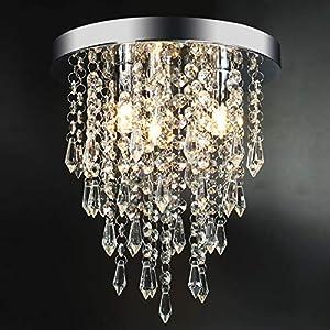 "3 Lights Mini Crystal Flushmount Chandelier Fixture, Crystal Ceiling Lamp, H10.4"" X W9.8"", Elegant Modern Flush Mount Ceiling Light for Bedroom, Hallway, Bar, Living Room, Dining Room, Chrome(G9 Base)"
