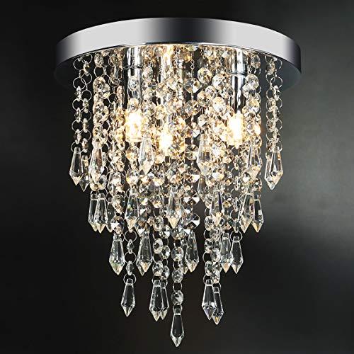 Hong-in Modern Chrome Flush Mount 3-Light Crystal Chandelier
