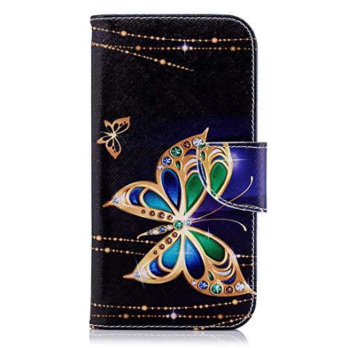 Uposao Kompatibel mit Handyhülle Huawei P20 Leder Tasche Schutzhülle Bunte Handytasche Ledertasche Lederhülle Bookstyle Klapphülle Flip Cover Kartenfach Magnetverschluss,Glitzer Schmetterling