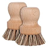 Redecker Natural Fiber Bristle Pot Brush, Set of 2, Durable Untreated Beechwood Handle,...