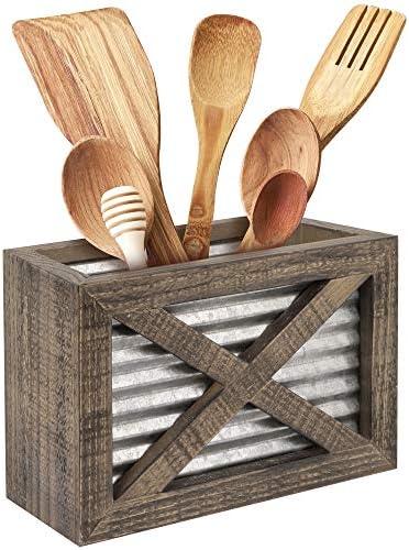 Autumn Alley Barn Door Rustic Kitchen Utensil Holder Farmhouse Wooden Kitchen Utensil Holder product image