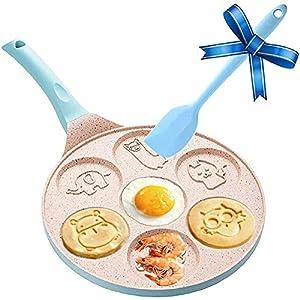 Pancake Maker Pancake Pan Nonstick Griddle, 7-Cup Pancake Mold - Mini Grill Pan Nonstick with Silicone Spatula,Blue