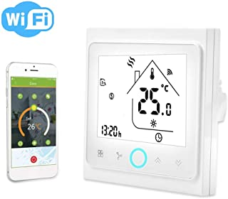 Smart Thermostat,2/4 Pipe WiFi Smart Central Air Conditioning Thermostat Temperature Controller LCD Touch Screen(4 Pipe)