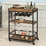 Haotian Bar Serving Cart Home Myra Rustic Mobile Kitchen Serving cart,Industrial...