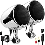 GoHawk AN4-X Gen.2 All-in-One Built-in Amplifier 4.5' Full Range Waterproof Bluetooth Motorcycle Stereo Speakers Audio Amp System, 1 to 1-1/4' Ape-Hanger Handlebar Harley Custom Touring Cruiser Chrome
