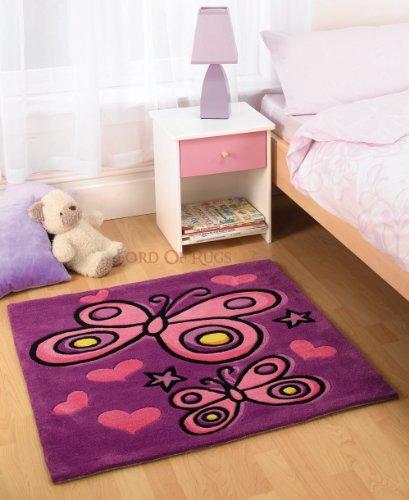 Lord of Rugs Bambini Morbido Tappeto in Colore Viola Farfalla Design Tappeto 90x 90cm (3'x 3')