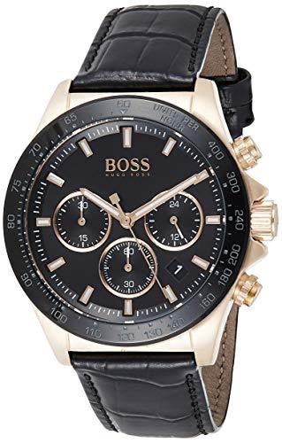 Hugo Boss Herren Chronograph Quarz Armbanduhr mit Lederarmband 1513753
