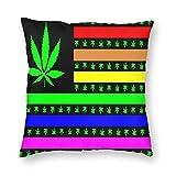 'N/A' Star Heaven - Fundas de almohada decorativas de terciopelo, banderas de orgullo de marihuana, Estados Unidos, funda de cojín para habitación, sofá, silla, coche, 45,7 x 45,7 cm