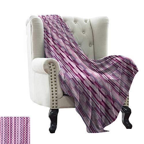 Coperta per divano con motivo a righe con cerchi rotondi astratti, stampa artistica, rosa pallido, viola, blu cadetto e rosa secca, coperta calda per autunno inverno 152,4 x 177,8 cm