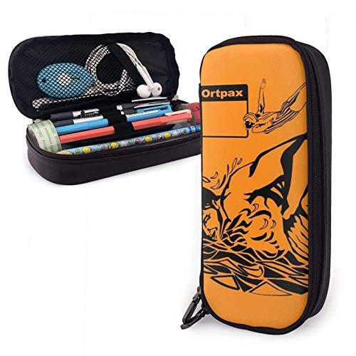 Sportpax Bolso de natación vintage Ilustración Estuche de lápiz de cuero Pu con cierre de cremallera Estuche de transporte de gran capacidad para la oficina de la escuela